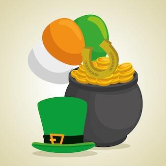 Chapéu de dia de são patrício e caldeirão com moedas e balões