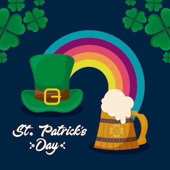 Chapéu de duende com arco-íris e cerveja de st patrick day