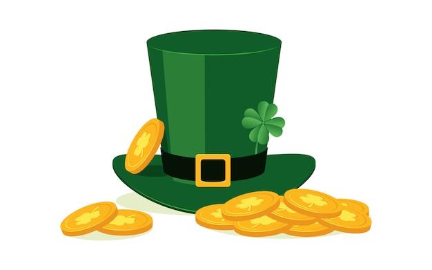 Chapéu de duende verde com trevo de quatro folhas e moedas de ouro