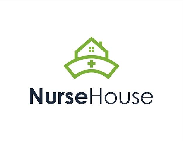 Chapéu de enfermeira e casa no telhado casa simples, criativo, geométrico, elegante, moderno, design de logotipo
