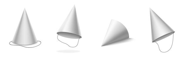 Chapéu de festa branco para aniversário, aniversário, celebração de natal. maquete 3d realista de vetor de tampas de cabeça de cone em branco para carnaval, feriados e festas isoladas no fundo branco