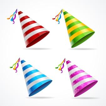 Chapéu de festa conjunto isolado em um fundo branco.