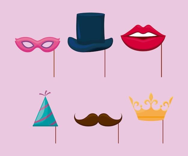Chapéu de festa e acessórios decorativos de festa em pau