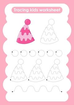 Chapéu de festa trace linhas de escrita e planilha de prática de desenho para crianças