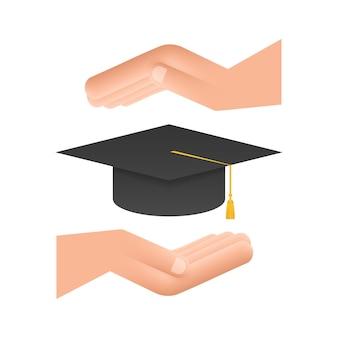 Chapéu de formatura com borla nas mãos, placa de argamassa realista. ilustração em vetor das ações.