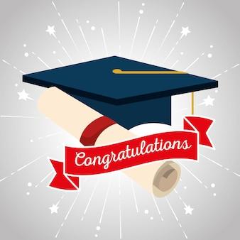 Chapéu de formatura com certificado diploma e fita