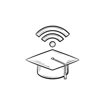 Chapéu de formatura com ícone de doodle de contorno desenhado de mão de sinal de rede wifi. ilustração de desenho vetorial de escola digital para impressão, web, mobile e infográficos isolados no fundo branco.