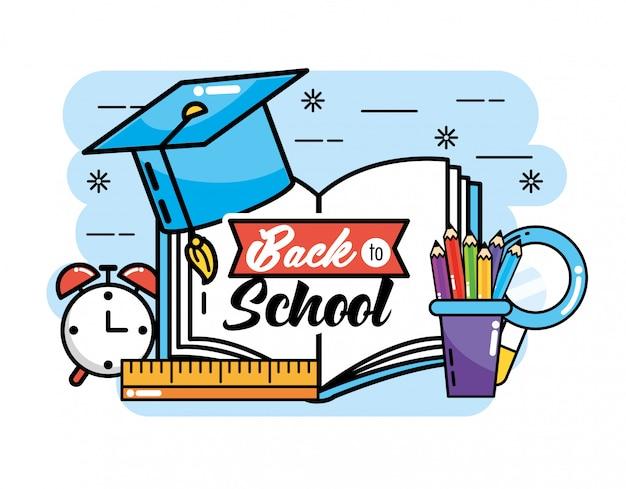 Chapéu de formatura com livro e lápis de cores para a escola