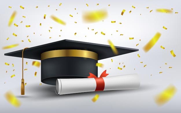 Chapéu de formatura com papel diploma e confetes dourados caindo. ilustração vetorial