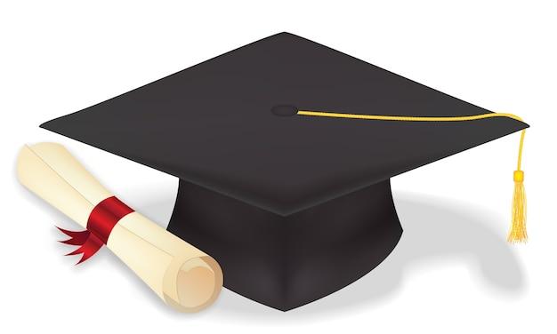 Chapéu de formatura de estudante com diploma