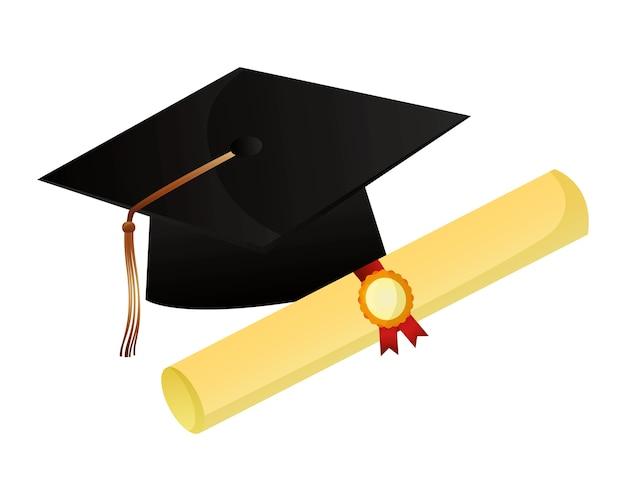 Chapéu de formatura e certificado de rolagem sucesso
