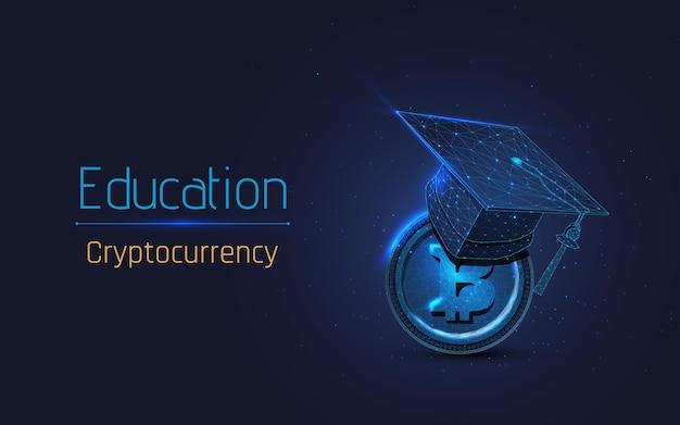 Chapéu de formatura e conceito de aprendizagem de moeda bitcoin