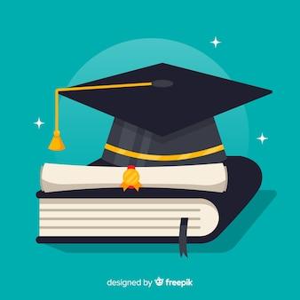 Chapéu de formatura e diploma com design plano