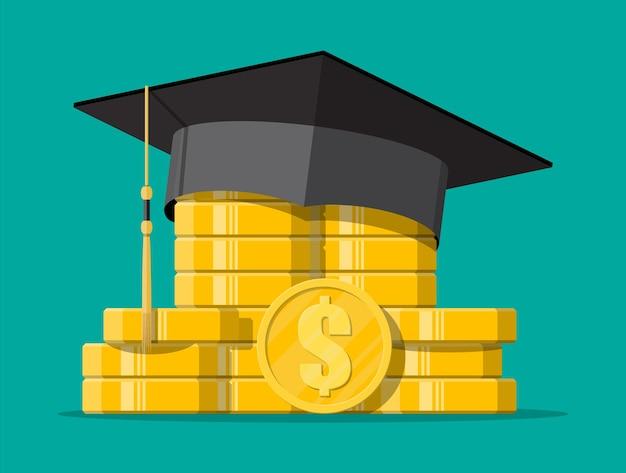 Chapéu de formatura e moeda de ouro. poupança de educação e conceito de investimento. conhecimento acadêmico e escolar. ilustração vetorial em estilo simples