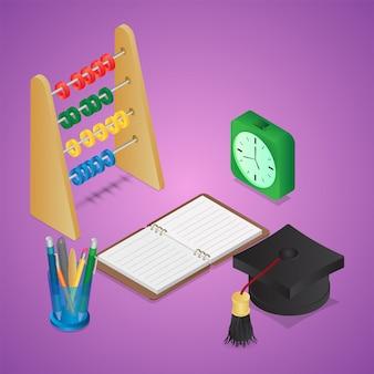 Chapéu de formatura em 3d com caderno aberto, porta caneta, ábaco; despertador