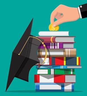 Chapéu de formatura, livros e moedas de ouro. poupança de educação e conceito de investimento. conhecimento acadêmico e escolar. ilustração vetorial em estilo simples