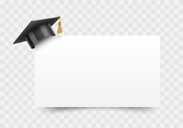 Chapéu de formatura no canto do quadro de papel branco, elemento de design de educação