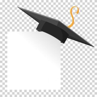 Chapéu de formatura ou placa de argamassa no canto de papel. elemento de design de educação de vetor isolado.