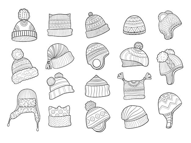 Chapéu de inverno doodle. chapéu quente de roupas batendo as orelhas com desenhos de malha de pele