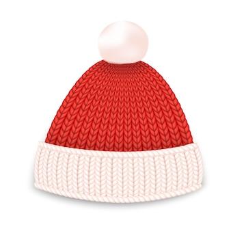 Chapéu de inverno vermelho.