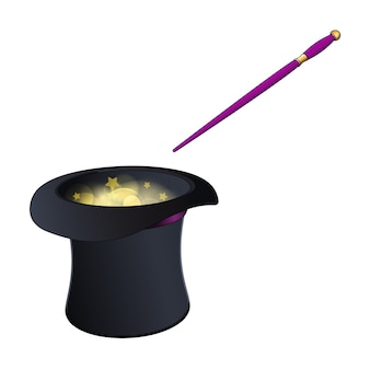 Chapéu de magia negra com varinha dourada e rosa