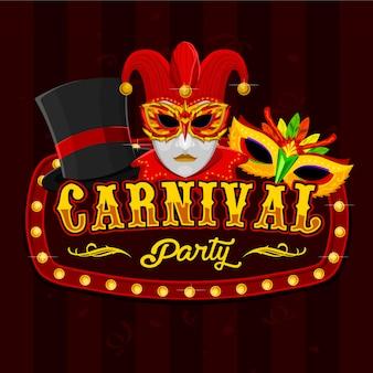 Chapéu de mágico e logotipo de máscara de carnaval colorido