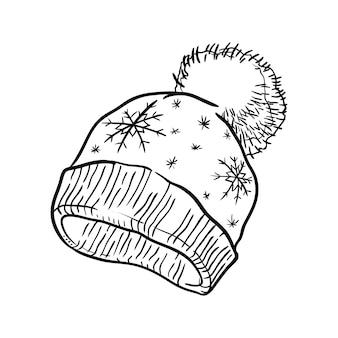 Chapéu de malha de inverno com flocos de neve. isolado em um fundo branco. ilustração em vetor desenhado à mão.