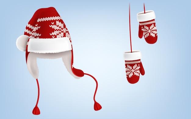 Chapéu de malha de santa com earflaps e luvas com padrão decorativo