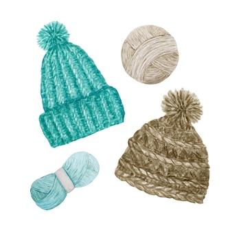 Chapéu de malha estilo escandinavo, fio de lã. acessórios de inverno