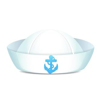 Chapéu de marinheiro pontiagudo com âncora azul