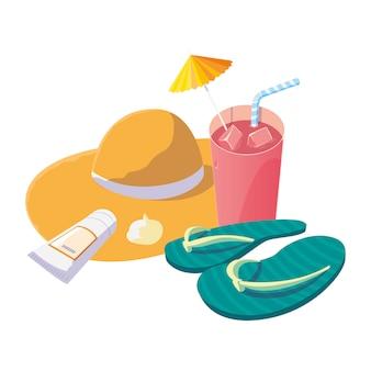 Chapéu de palha de verão com coquetel e flip flops