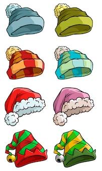 Chapéu de papai noel de inverno dos desenhos animados grande conjunto de vetores