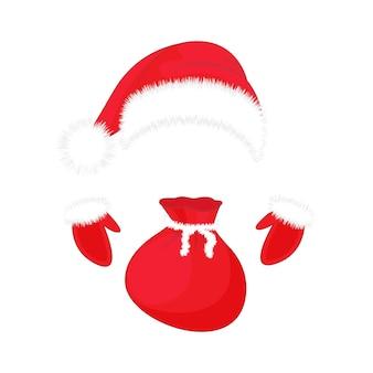 Chapéu de papai noel, luvas e um saco de presentes. símbolos de natal.
