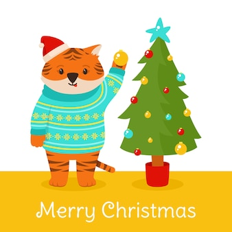 Chapéu de papai noel natal tiger tree mascote ano novo