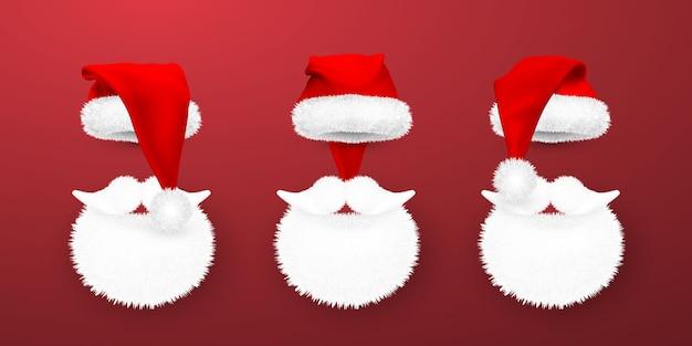 Chapéu de papai noel vermelho e barba de papai noel em fundo vermelho.
