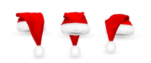 Chapéu de papai noel vermelho realista isolado no fundo branco. chapéu de papai noel em malha gradiente com pele.
