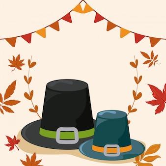 Chapéu de peregrino com folhas de outono