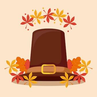 Chapéu de peregrino do dia de ação de graças com folhas