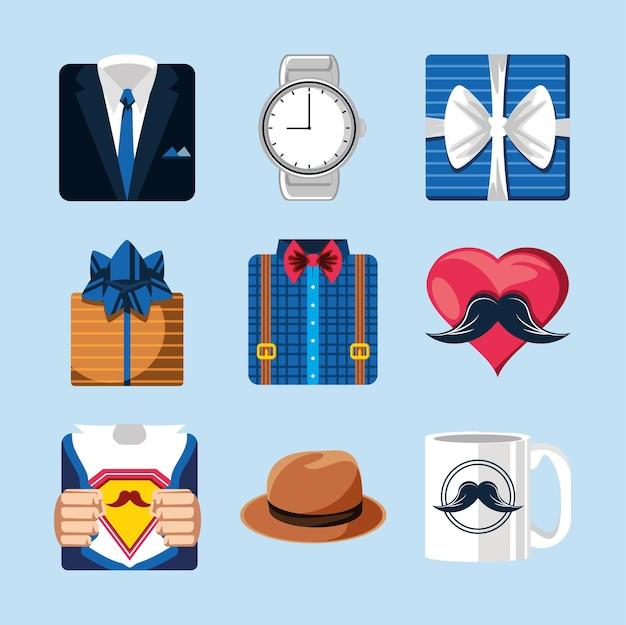 Chapéu de presente de dia dos pais com camisa e relógio