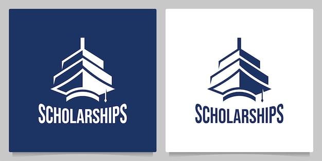 Chapéu de solteiro educação náutico navio grande ilustrações de design de logotipo vintage