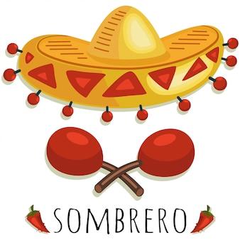 Chapéu de sombrero mexicano e ilustração de maracas