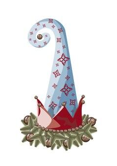 Chapéu de um gnomo duende de natal enfeitando a árvore de natal com um enfeite e bolas de miçangas
