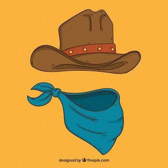 Chapéu de vaqueiro e cachecol