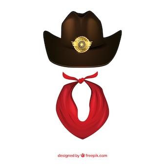 Chapéu de vaqueiro e lenço vermelho