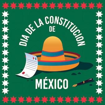 Chapéu desenhado à mão, dia da constituição do méxico