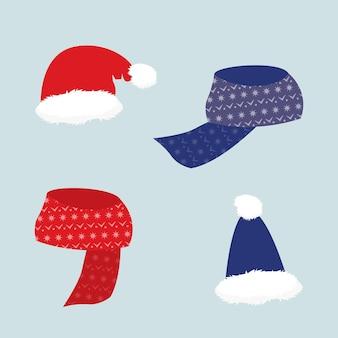 Chapéu e lenço quentes para inverno aconchegante, ilustração vetorial isolada, acessório de natal de ano novo