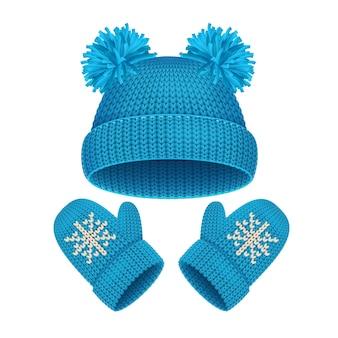Chapéu e luva azuis conjunto acessórios de inverno roupas quentes. ilustração vetorial