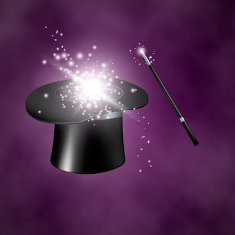 Chapéu e varinha mágicos. no fundo roxo com fumaça