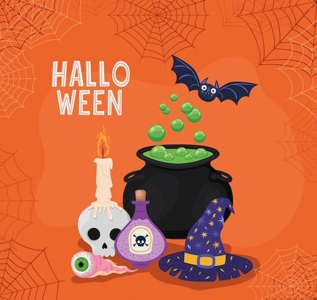 Chapéu e veneno de bruxa halloween com moldura de teia de aranha, feriado e tema assustador