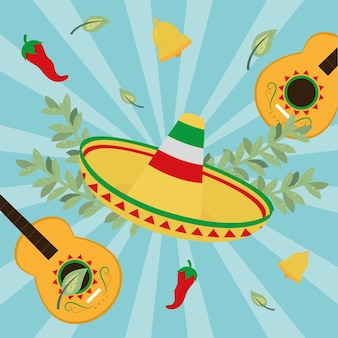 Chapéu e violões mexicanos
